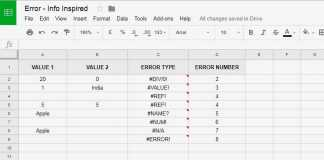Different Error Types in Google Sheets