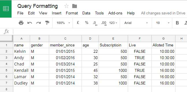 Formatting Options in Query - Date, Time and Hour