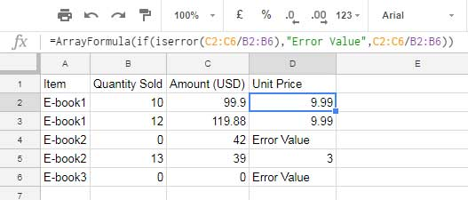 how to use iserror in an array formula in google sheets - example