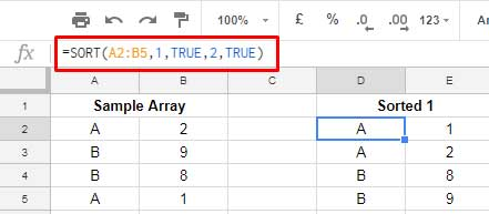 multiple column sorting in Google Sheets