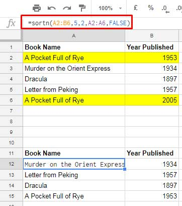 one column based duplicates in google sheets