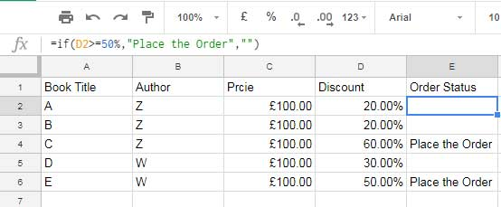 percentage value in IF logical test google doc