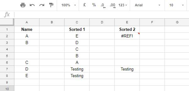 how to remove blank rows while sorting in google sheets