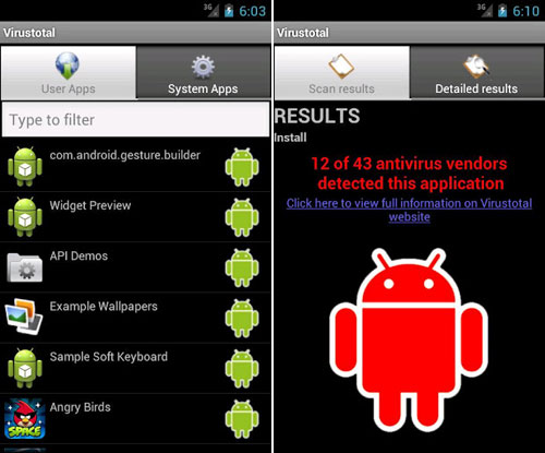 Scan Android Apps free with More than 40 Antivirus