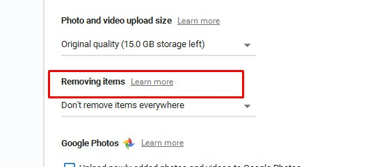 removing items setting google drive