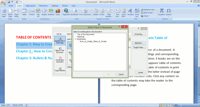 microsoft word how to create table of content