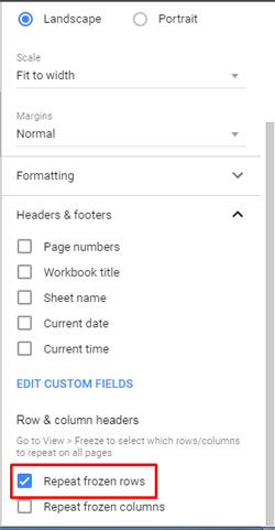 how to repeat page titles in google doc spreadsheet. Black Bedroom Furniture Sets. Home Design Ideas