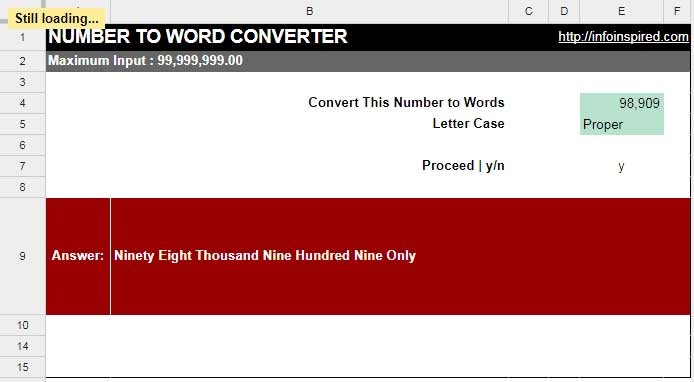 number to word converter in google sheets example