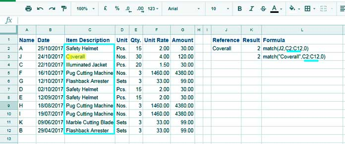 How To Use Match Function In Google Sheets Examples