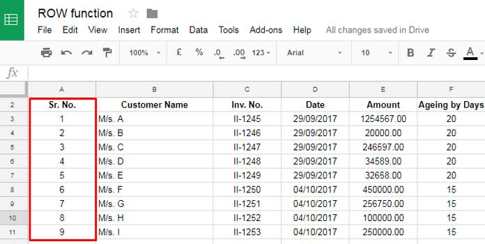 auto serial numbering in google sheets with row function