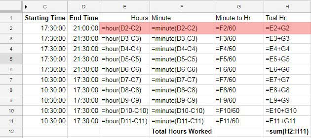 Payroll Hours Time Calculation In Google Sheets Using Time Functions