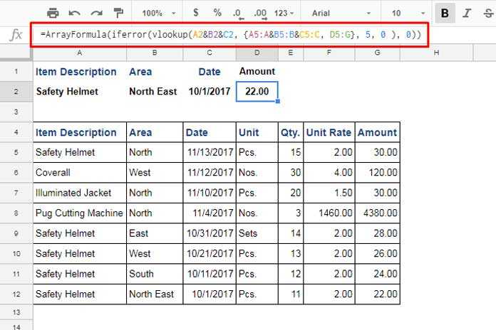 How to Use VLOOKUP with Multiple Criteria in Google Sheets