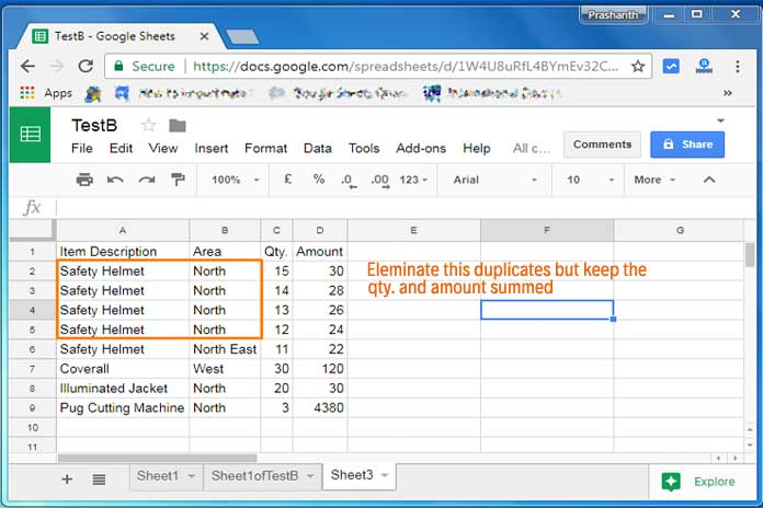 find and eliminate duplicates using query formula in google sheets