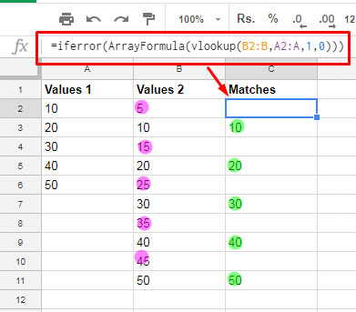 How To Compare Two Columns For Matching Values In Google Sheets