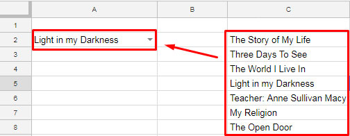 Multi Row Dynamic Dependent Drop Down List in Google Sheets