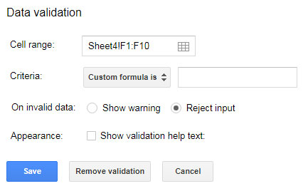Restrict Entering Special Characters in Google Sheets Using Regex