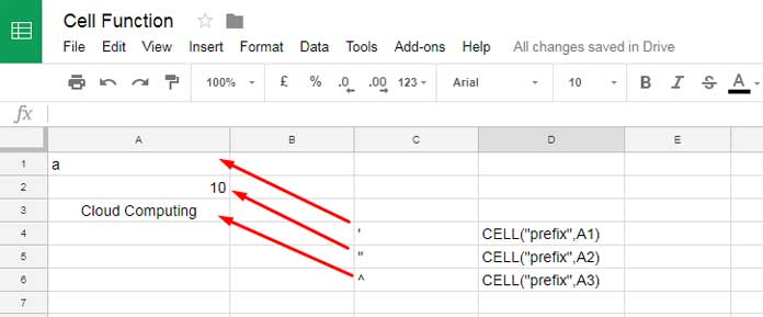 Usage of Google Sheets CELL Function and Examples