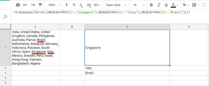 How to Extract Multiple Words Using Regexextract in Google Sheets