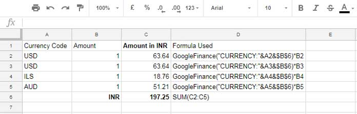 How to Convert Currency in Google Sheets Using GoogleFinance