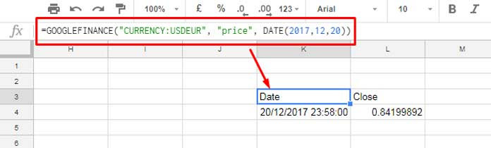 How to Convert Currency in Google Sheets Using GoogleFinance Function