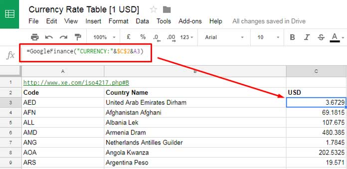 Create Currency Exchange Rates Table In Google Sheets