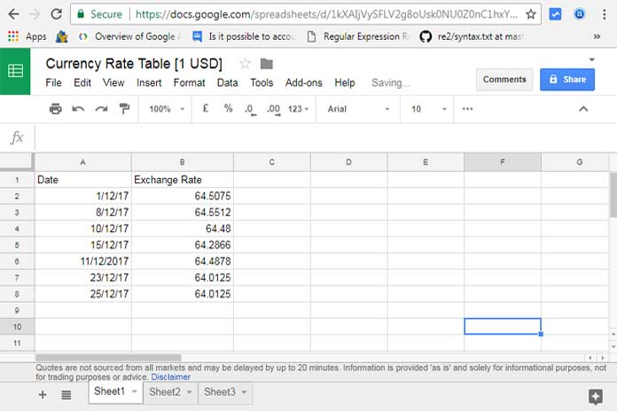 Currency Rates In An Array Google Sheets