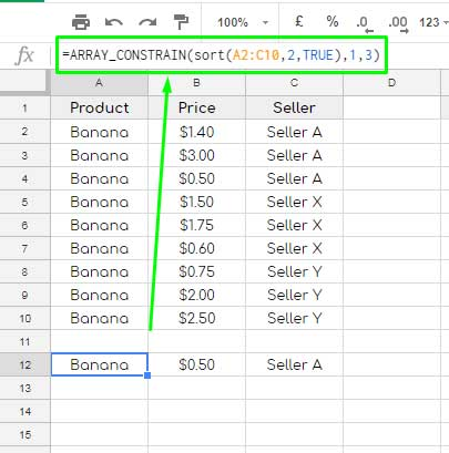 How to Find All Lowest Price Items in Google Sheets