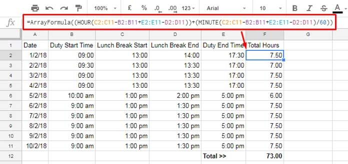 How to Deduct Lunch Break Time From Total Hours in Google Sheets
