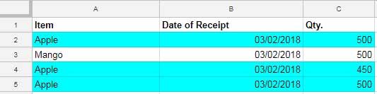 Google docs remove duplicates in column