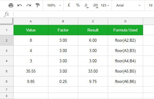Floor Function in Google Sheets