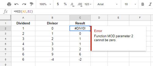 How to Use MOD Mathematical Function in Google Sheets