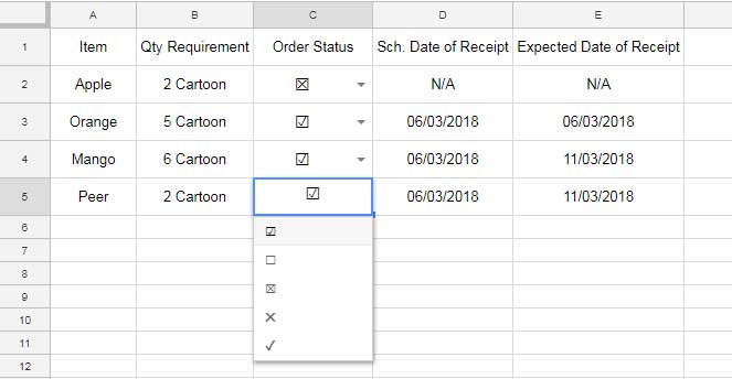 How To Insert Check Box Tick Mark In Google Sheets