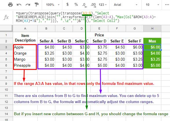 How to Find Max Value in Each Row in Google Sheets [Array