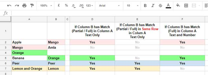 Formula to Find Partial Match in Two Columns in Google Sheets