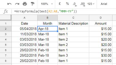 Month Wise Pivot Table Report in Google Sheets Using Date Column