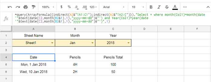Filter by Month and Year in Query in Google Sheets