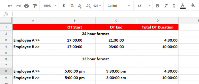 The Best Overtime Calculation Formula in Google Sheets