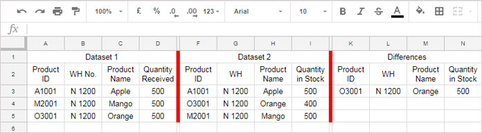 Google Sheets: Compare Two Sets of Multi-Column Data for Differences