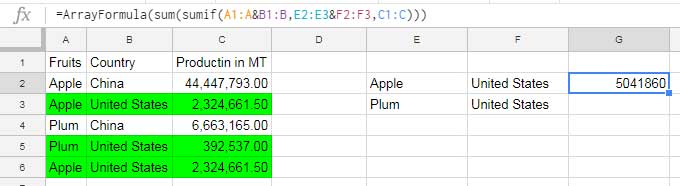 Multiple Criteria Sumif Formula in Google Sheets - How to
