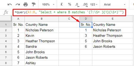 Matches Regular Expression Match in Google Sheets Query