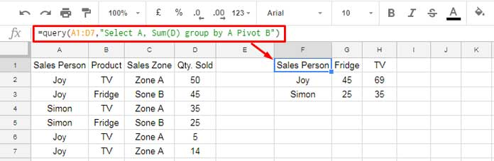 How to Pivot Multiple Columns in Query in Google Sheets