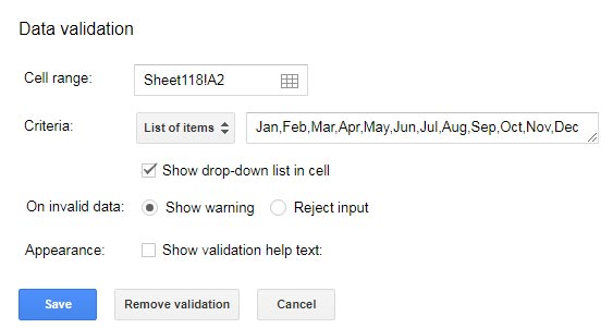 how to create cell drop down menus on google spreadsheet