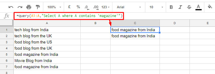Contains Substring Match In Google Sheets Query How To
