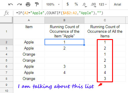 Running Count of Multiple Values in Google Sheets [Array Formula]