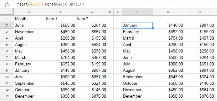 How to Sort By Month Name in Google Sheets Using Formula