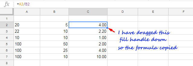 Sum, Multiply, Subtract, Divide Numbers in Google Sheets