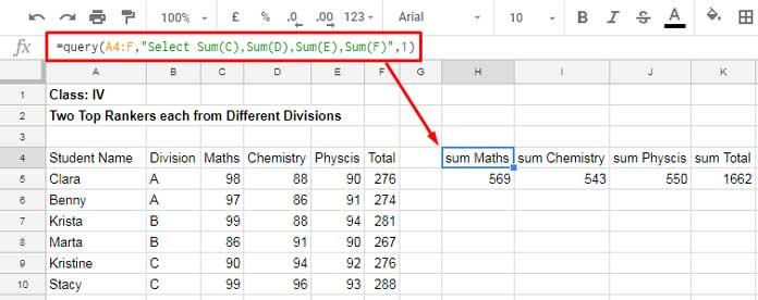 Aggregation Function in Google Sheets Query: Sum, Avg, Count