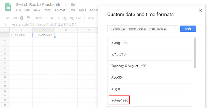 Convert Date Format from Dot to Slash or Hyphen in Google Sheets
