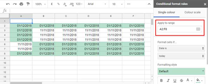 Date Related Conditional Formatting Rules in Google Sheets