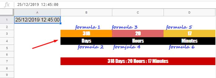Countdown Timer Using Built-in Functions in Google Sheets
